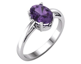 Natural Amethyst Ring Gold / 14K White Gold Amethyst Ring