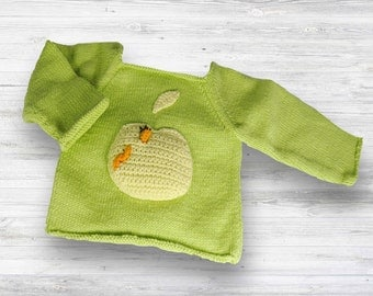 Hand Knit Apple Sweater! Baby knit sweater-unique hand knit sweater-baby keepsake -new baby gift -unisex hand knit sweater -baby shower gift