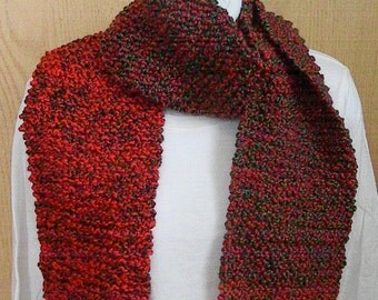 Knitted Red and Green-Christmas Scarf