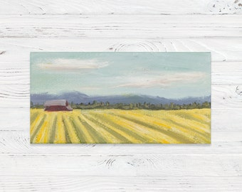 Mini Oil Landscape Painting of a Oregon Yellow Field with Mini Easel - Landscape Painting - Oil Painting - Painting - Painting on Canvas