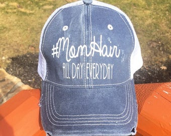 MomHair all day everyday distressed blue ballcap