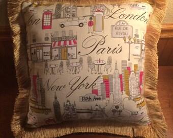 London, Paris, New York Fringe Pillow