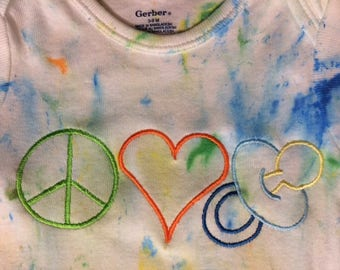 Handmade Ink Painted and Embroidered bodysuit Peace,Love and Pacifier size 3-9mo