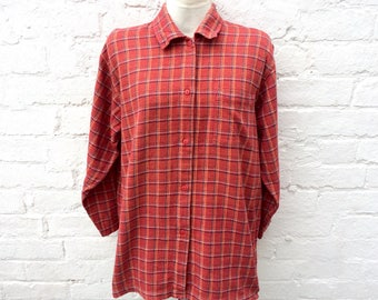 Women's plaid shirt, red checked top, oversized 90's fashion