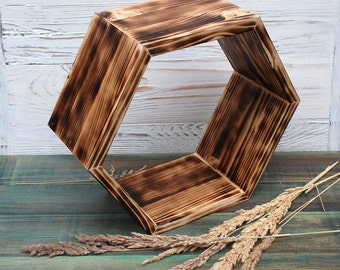 AII SIZES hexagon shelves,Wall Shelving,Geometric Hexagon Shelves,Honeycomb Shelves,Floating Shelves,Bookshelves,wood modular shelf