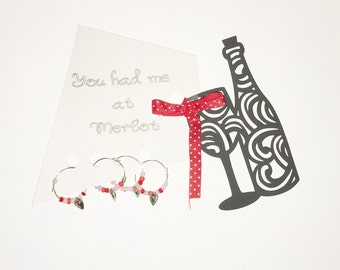 You had me at Merlot set of 4 wine charm set