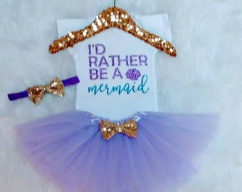 Mermaid Outfit Baby Girl Clothes Baby Girl Outfit Mermaid Baby Outfit Mermaid Shirt Mermaid Baby Shower Gift I'd Rather be a Mermaid