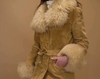 Suede Leather Faux Fur Trim Tie Waist 70's Penny Lane Coat