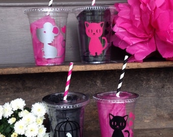 Cat Party Cup, Kitty, Mouse, Bird, Birthday, Custom 16oz. Clear Plastic Disposable Cups with tops & straws, sets of 8,10,12,15