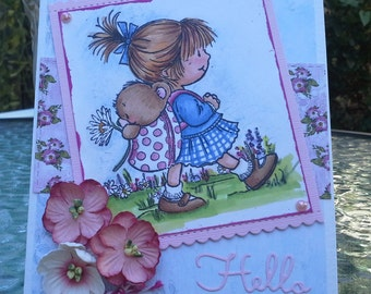 hello card, handmade card, handmade greeting card, all occasion card, cards for her, cards online, card for a gal friend, cards to encourage