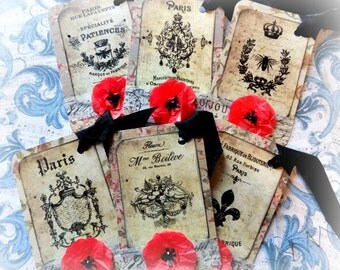 6 French Inspired Hang Tags - Cottage chic - Gift Tag - Red Poppy Flowers