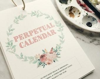 Perpetual Calendar // Birthday Calendar // Floral Calendar