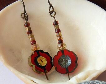 Red earrings, Flower Earrings, Vintaj earrings, Ruby red earrings