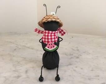 Primitive Ant Shelf Sitter, Primitive decor, Summer decor, Ant holding watermelon slice