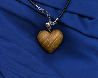 Wooden heart necklace, wooden necklace, wooden jewellery, gift for her, valentines, wooden heart pendant, made from Black Locust wood.