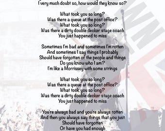 Courteeners - What Took You So Long? Lyrics Print