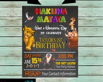 Lion King Baby Shower or Birthday Party Chalkboard Invitations Invites ~ We Print and Mail to You