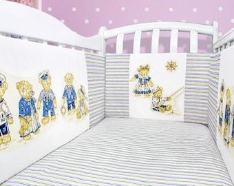 Teddy bear nusery: bumper for crib, teddy bear bedding, teddy bear décor, teddy bear baby shower gift (033)