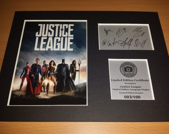 Justice League - Batman - Superman - Wonder Woman - Flash - Aquaman - Cyborg - Signed Autograph Display - Mounted and Ready To Be Framed