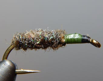 Three (3) Caddis Case Larva flies, size 10-14, for fly fishing