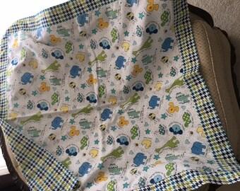 Flannel Baby Blanket, Receiving Blanket, Self Binding Baby Blanket