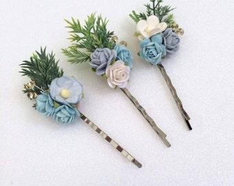 3 paper flower hair bobby pins, hair pin, flower hair clips, Hair Accessories, Rustic wedding bridesmaid headpiecs