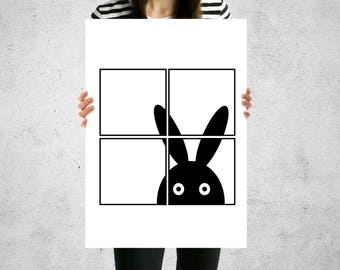 Print Black & White Bunny At The Window Wall Art Contemporary 5 Sizes Home Decor Monochrome Design