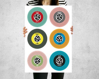 Custom Print for Music Lovers Vinyl Records Singles Favourite 6 Songs - A3 Size Only - Birthdays Anniversaries Christmas Gift
