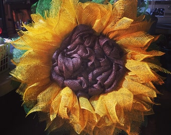 Poly burlap sunflower wreath