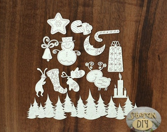 "Laser Cut Chipboard Set Of ""Christmas [2]"