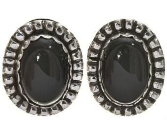 Navajo Silver Stud Earrings Southwest Design Black Onyx