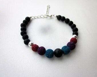 Multi-Colored Lava Rock Bracelet