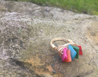 Colorful beaded ring