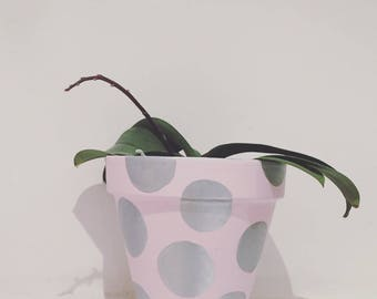 Pink & Silver Spot Large Plant pot.