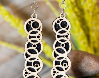 Circle Fusion - Wood and Leather Earrings