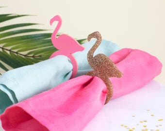 Flamingo Napkin Rings in Pink or Gold - Party Napkin Rings, Wedding Napkin Rings