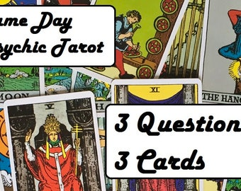 Same Day Psychic Tarot - 3 Questions, 3 Cards - Experienced, Empathic Reader. Detailed.  Accurate. GREAT VALUE!