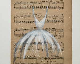 Shabby chic tutu dress art painting on vintage sheet music - original