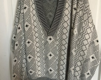 Vintage Expressions Patterned Pull Over V Neck Sweater