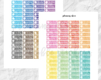 Watercolor Dater Covers /ECLP/ colorful basic functional  printable planner stickers, pdf, jpg