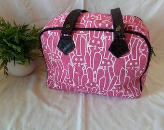 Bowling bag,handbag,leather handbag,cotton canvas,gift for her,original gift