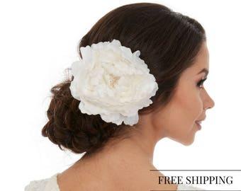 Wedding Fascinator - Flower Fascinator - Floral Fascinator - White Flower Fascinator - White Peony Fascinator - Bridal Fascinator