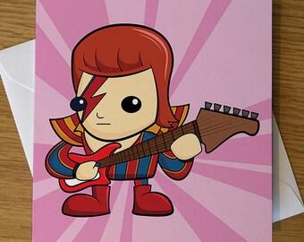 David Bowie Cartoon Greeting Card, David Bowie Cartoon, David Bowie Gift, David Bowie Birthday Card, Ziggy Stardust Card, Bowie Fan
