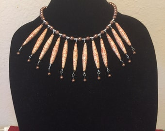Warm Paper Bead/Bronze Pearl Necklace