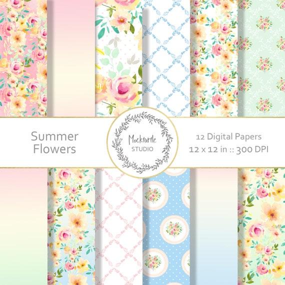 Summer Floral Digital Paper Cottage Chic Clipart Scrapbook Paper