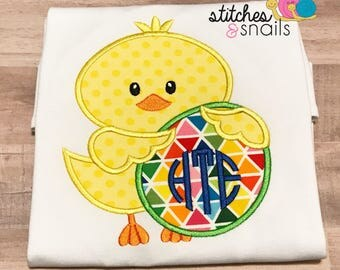 Chick with Easter Egg Applique Shirt