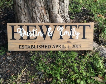 Personalized Family Name Established Date Wood Sign, Couples Names,Engagement wedding gift, Anniversary Gift, Home Decor, Wedding Date Sign,