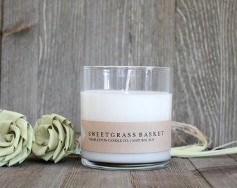 Sweetgrass Basket Candle | Meadow Scented Soy Candle | 9 oz Soy Candle | Charleston SC Inspired Candles
