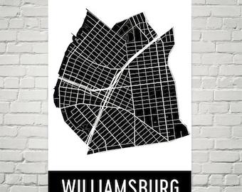 Williamsburg Map, Williamsburg Art, Williamsburg Print, Williamsburg NY Poster, Williamsburg Wall Art, Map of Williamsburg, Gift, Art