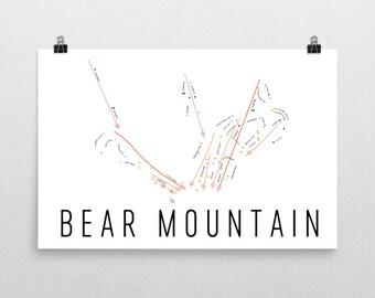 Bear Mountain Ski Map Art, Bear Mountain New York, Upstate New York, Adirondack Decor, Adirondack, Ski House Decor, Ski Chair, Ski Lift
